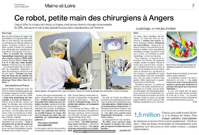 Article ouest france - clinique anjou
